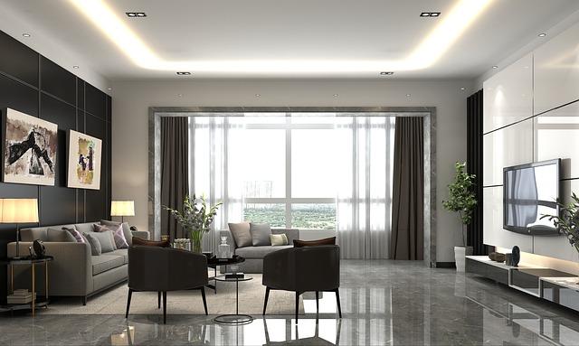 prostor, moderní obývací pokoj